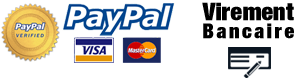 Paiements par Paypal, Carte Bancaire via PayPal, Virement Bancaire, Chèque.
