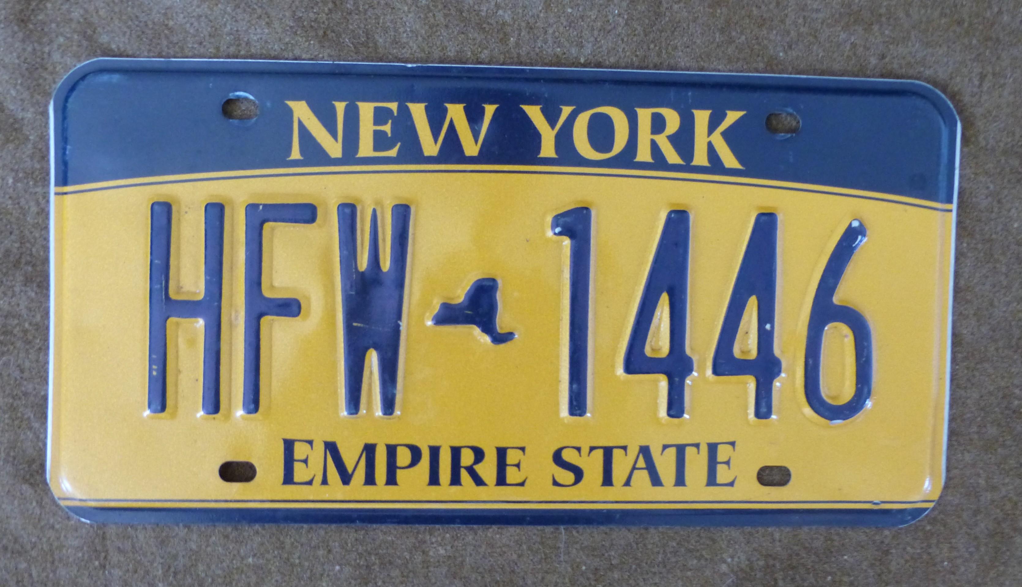 plaque d 39 immatriculation new york ww2 militaria objets et accessoires am ricains des ann es. Black Bedroom Furniture Sets. Home Design Ideas